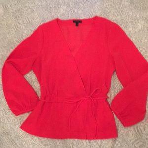 Red faux wrap shirt